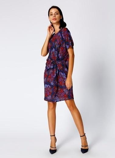 House Of Camellia Kısa Kollu Desenli Elbise Renkli